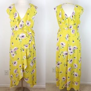 Leith Yellow Floral Wrap Hi Low Dress Ruffle XXL